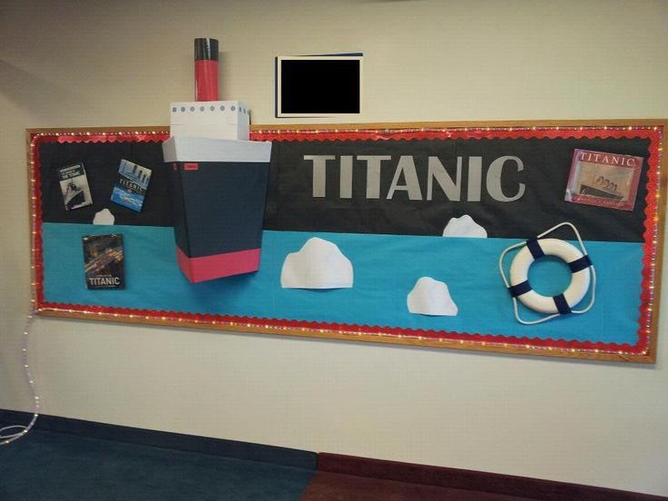 Bulletin board my partner and I put together to celebrate the 100th anniversary of the sinking of the Titanic! We wanted to add cabin lights but ran out of time.