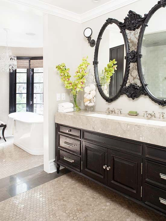 one sink for two.: Bathroom Design, Modern Bathroom, Black Bathroom, Double Bathroom Vanities, Master Bath, Bathroom Ideas, Trough Sink, Bathroom Cabinets, Design Bathroom