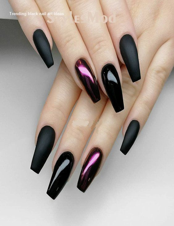 20 einfache schwarze Nail Art Design-Ideen #blacknails #nail – Simple Black Nails ART