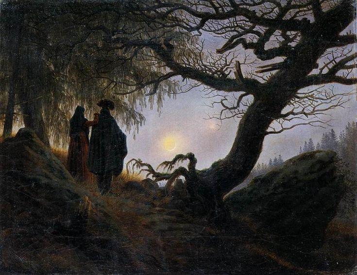 Mann und Frau den Mond betrachtend, öl auf leinwand von Caspar David Friedrich (1774-1840, Germany)