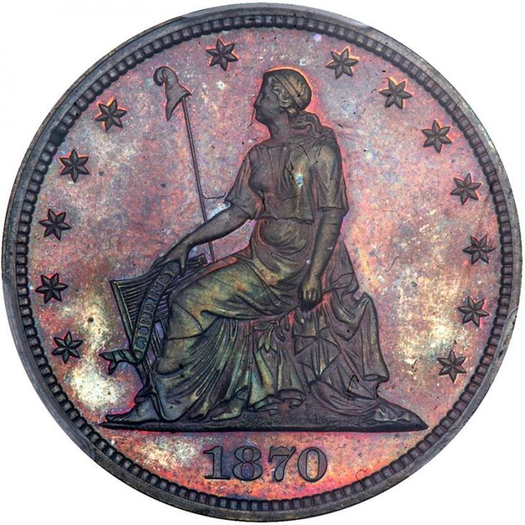 1870 Pattern Half Dollar. Copper, plain edge. PCGS PF64 Nice red and blue colors. A satiny near-Gem Proof with intense underlying mirror luster that explodes with vivid purple and blue iridescence. Absolutely eye-popping in all regards. No more, no less, just as fully struck, as attractive, as you could ask for in a STANDARD SILVER Pattern coin, with complete detail at the seated figure as well as the eagle. This handsome coin was designed by William Barber. . William Barber became chief…