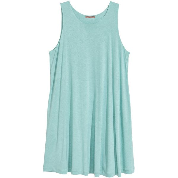 H&M+ Jersey Tunic $24.99 ($25) ❤ liked on Polyvore featuring tops, tunics, green top, flared top, jersey top, sleeveless tunic and green sleeveless top