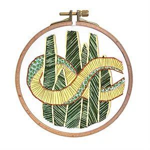 Casnac by Sevcaning | GALLERY  Snake & Snake www.casnac.com  #embroidery #snake #snakeplant