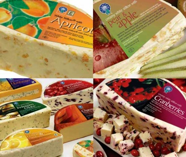 Long Clawson Fruit Cheeses comprise of White Stilton combined with various fruits. Apricot or Cranberry are most popular, closely followed my mango and ginger.