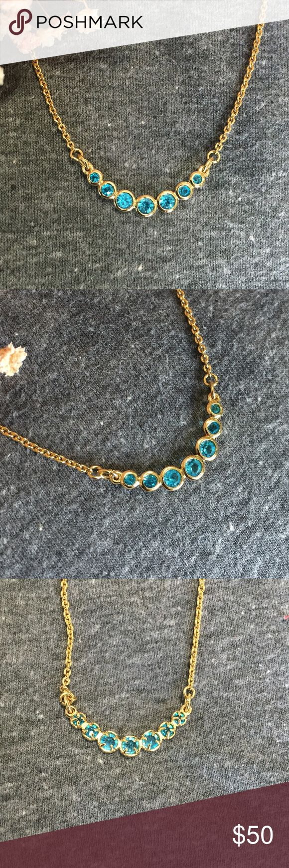NWT Kate Spade Dainty Sparkler Teal Necklace Simple and sparkly this pretty sky blue and gold necklace is the perfect addition to any outfit! Small round crystals bring to mind a line of perfect bubbles! Perfect condition, never worn! kate spade Jewelry Necklaces