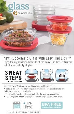 Eccentric Eclectic Woman: Rubbermaid Glass Food Storage Containers with Easy Find Lids Review and Giveaway