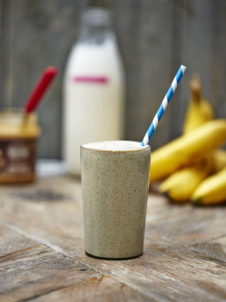 homemade protein shake--switch out the peanut butter for almond or sunflower butter