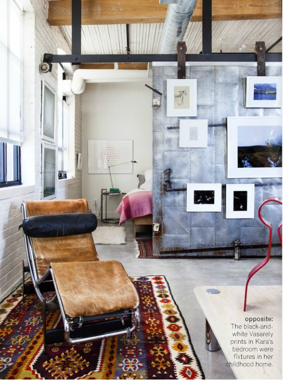 Source: Covet Garden This Toronto loft is doing soooo many good things! For starters the industrial sliding barn door/wall is genius. It divides the space and contributes to each area's identity but also keeps it feeling open and airy. Featured in the latest issue of Covet Magazine - you can read more here :)
