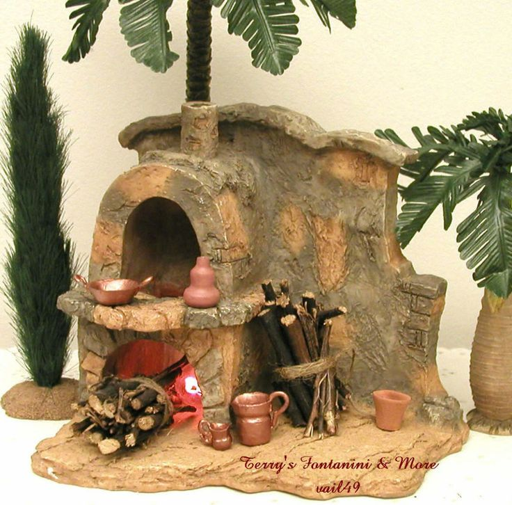 "FONTANINI ITALY 5"" LITED STONE FIREPLACE/OVEN NATIVITY VILLAGE w/10 ACCESS 94887"