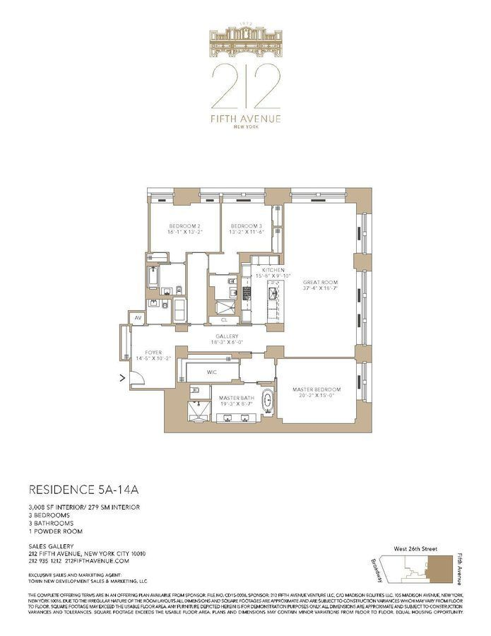 212 Fifth Avenue A line 3 Bedroom 371 best