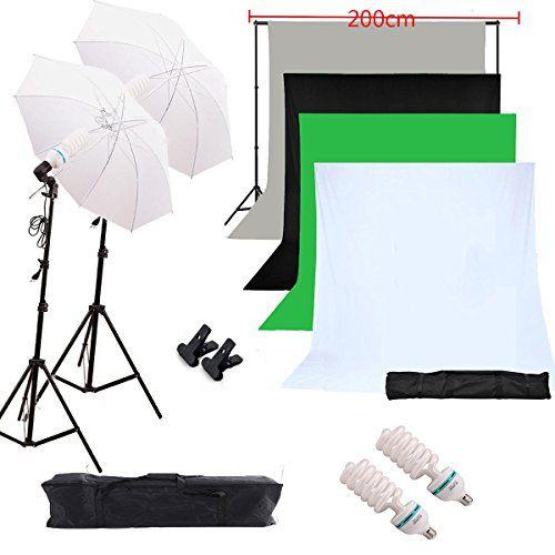Etime Fotostudio Set Hintergrundsystem Hintergrundstoff Studioset Studioleuchte Lampenstativ + 2 Durchlichtschirm