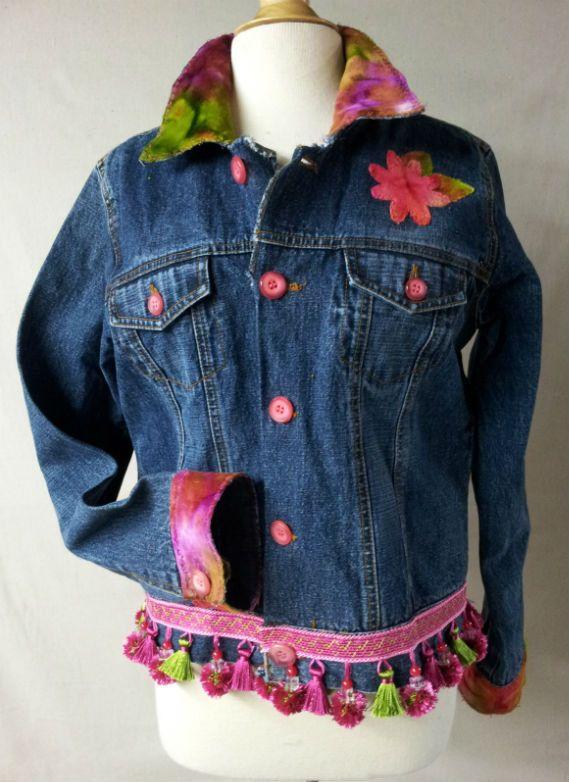 Upcycled Denim jacket Large, with Velvet Accents. $95.00, via Etsy.