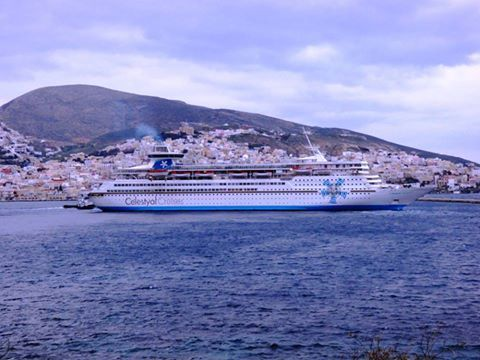 Celestyal Olympia approaching the port of Syros. Special thanks to Manolis Konstantinou for this dazzling shot! #Syros #Greece #Cyclades #Celestyalcruises #cruise #ship