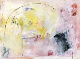 The inspiration for this work on paper is an essay titled 'The Way Out', published just before WW2. The essay attempts to show humanity an alternative way to live without war. The image is ambiguous. The abstract barriers, loops and boxed-in shapes in the image can also be seen as doorways and exits. The text works with the paint surface and colours to create, in the end, an uplifting piece.  Image goes to edge of paper.  Base Canson Aquarelles coldpressed cotton rag watercolor 300gsm  ...