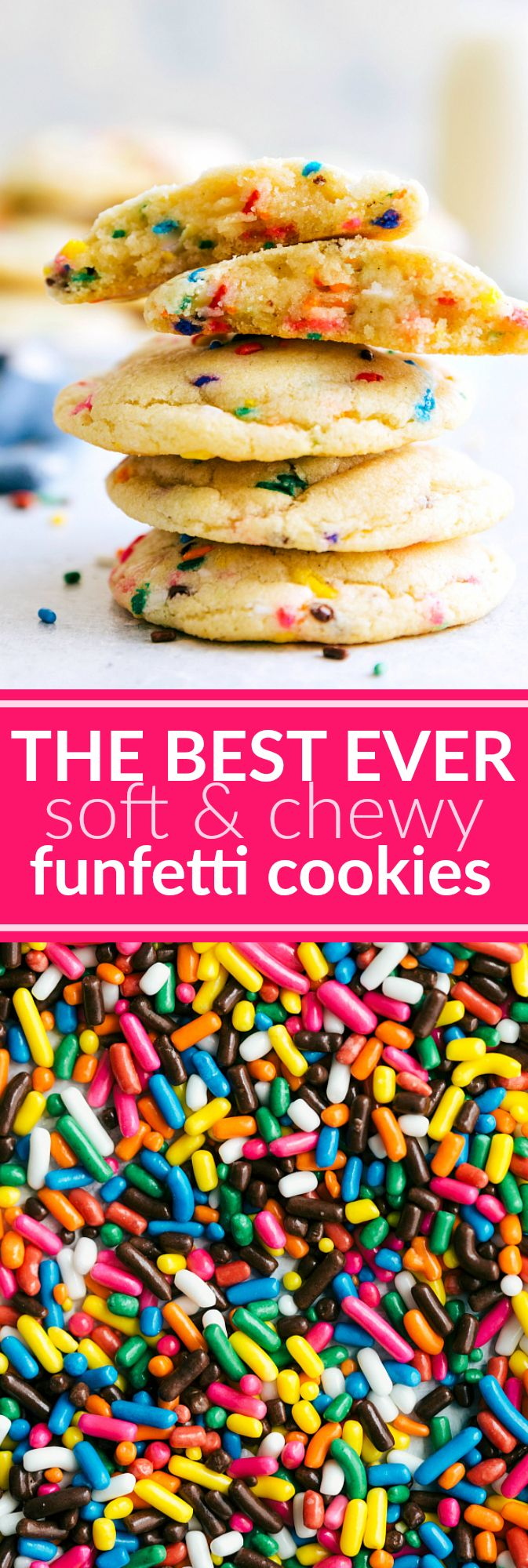 Soft and chewy FUNFETTI COOKIES! A perfect mash-up of classically soft sugar cookies and funfetti flavor -- these funfetti cookies are soft and chewy!