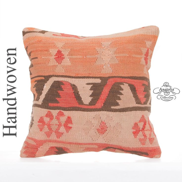 Anatolian Old Kilim Pillow Cover 16x16 Decorative Turkish Rug Cushion Sofa Throw #AnatoliaCollection #Turkish