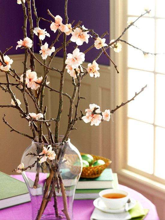 Easter Branch Bouquet - just hot glue flowers to a bunch of sticks!