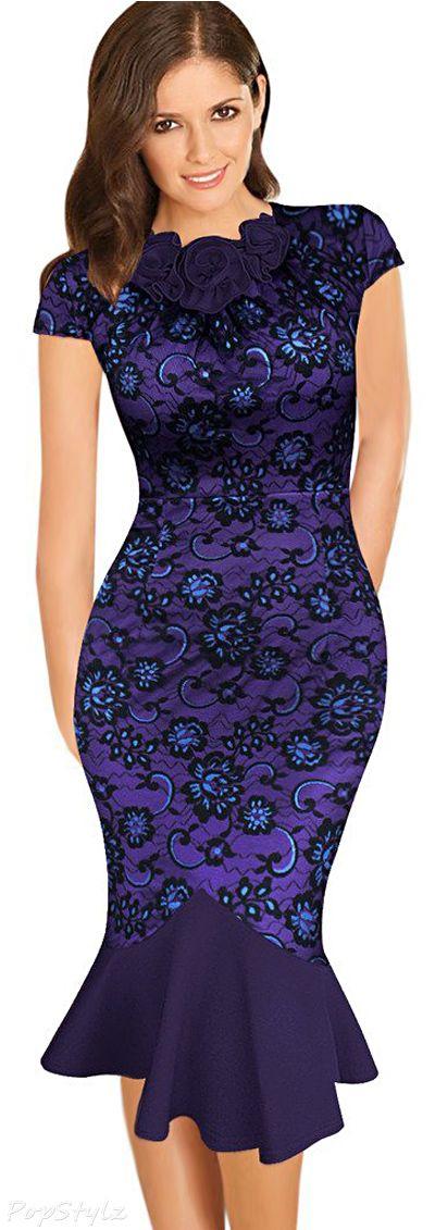 Vfemage Elegant Vintage Fishtail Evening Wiggle Dress