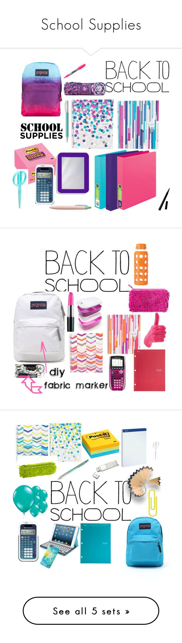 """School Supplies"" by summerloveforever335 ❤ liked on Polyvore featuring interior, interiors, interior design, home, home decor, interior decorating, JanSport, Post-It, Sharpie and Vera Bradley"