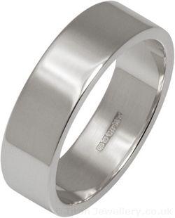 6mm Silver Flat Profile Wedding Ring