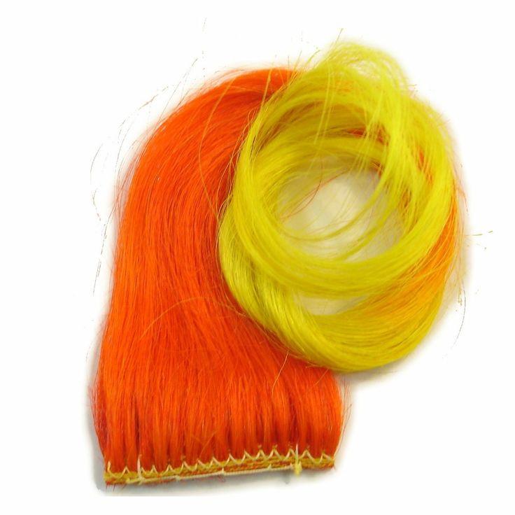 "14"" Clip-In Human Hair Streak, Orange with Yellow Tips at I Kick Shins"