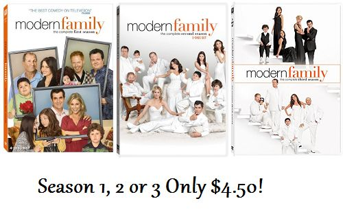 Modern Family Season 1, 2 or 3 Only $4.50 Each! - http://couponingforfreebies.com/modern-family-season-1-2-3-4-50/