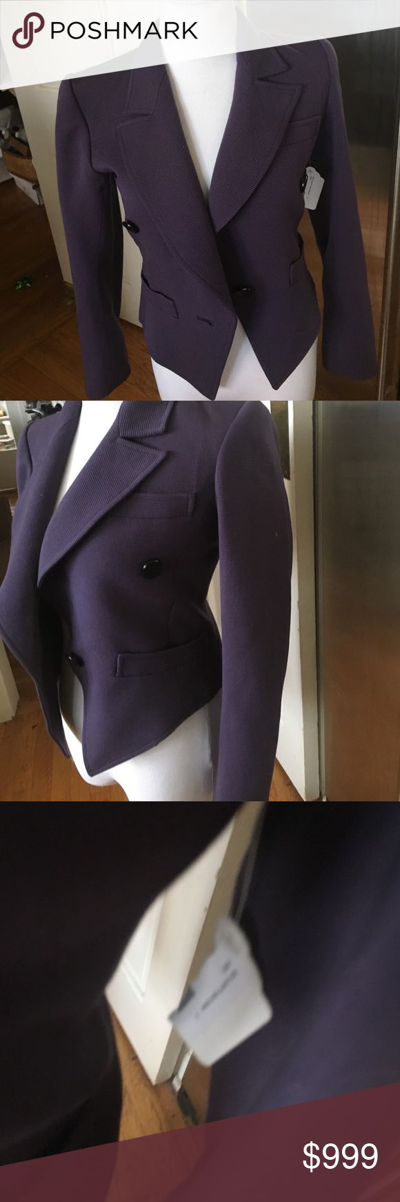 "NWT SAINT LAURENT Rive Gauche Purple CroppedBlazer Size 34, XS this jacket is actually ""Vintage"" but my mother put it in her Closet and forgot about it  (HOW U COULD FORGET @ THIS BOGGLES MY MIND😳🙄😬)! So it's Brand New with the tags still on it and was bought by my Grandmother IN PARIS, (along w most of my LV BAGS 🤗. It has 2 ""real"" front pockets and one center button And 2 for decor on each side. Anyway, THIS is what Quality, Style and Sophistication LOOK LIKE ladies! Saint Laurent…"