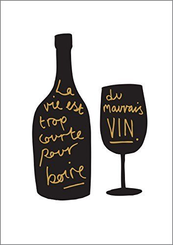 French Wine Kitchen Print A4 – gold and black – French kitchen decor – kitchen poster – kitchen print – Wine print – Wine wall art – wine…