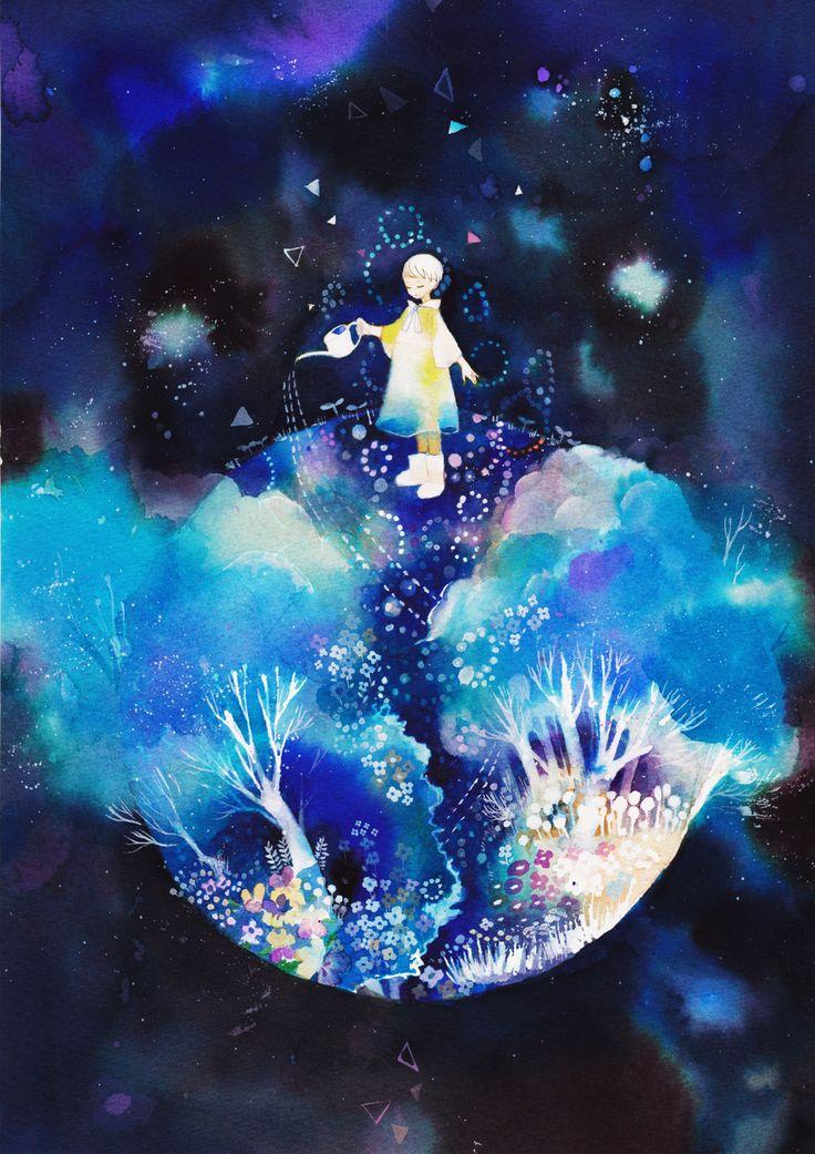 sorakarasu:  青い庭A4/ウォーターフォード、透明水彩、カラーインク 2012.04