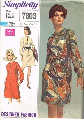 1960's Vintage Sewing Pattern Simplicity 7803Dresses Pattern, Vintage Sewing Patterns, Pattern Simplicity, Fashion Dresses, 7803 Size, Simplicity Pattern, Design Fashion, 1960S Vintage, Simplicity 7803