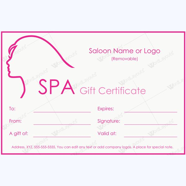 12 best Spa and Saloon Gift Certificate Templates images on - microsoft word gift certificate template free