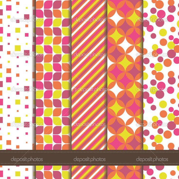 conjunto de patrones inconsútiles geométricos abstractos rosa - Ilustración de stock: 33873897