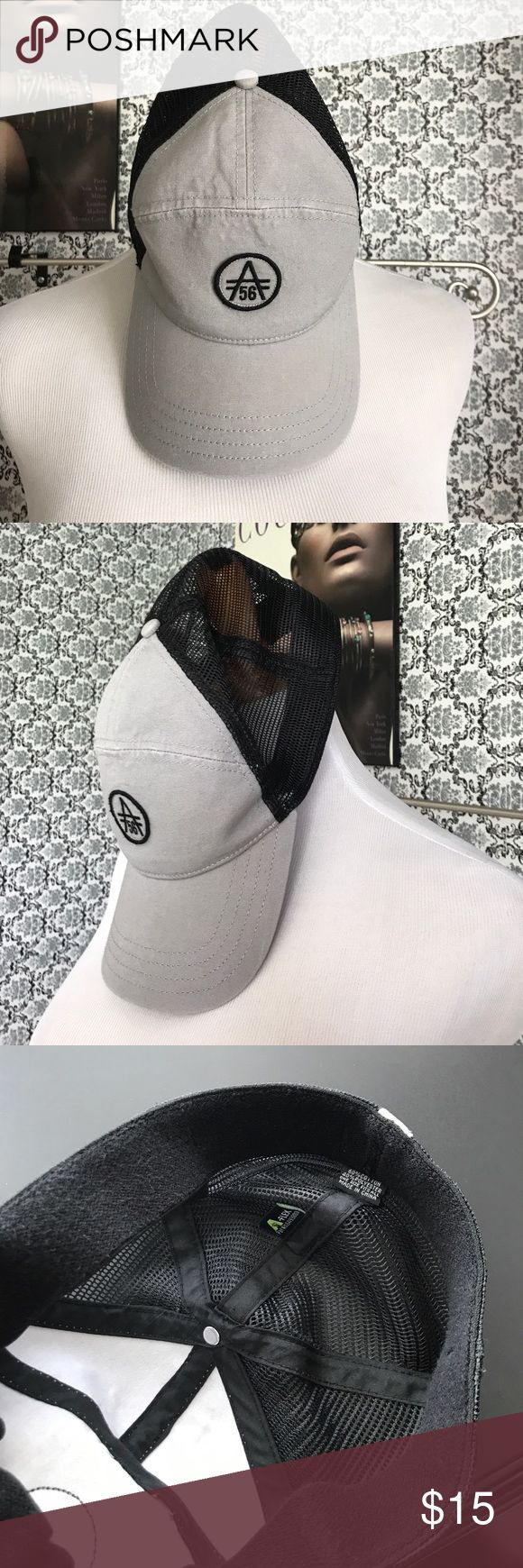 Men's designer baseball cap Nwot Very cool flex style baseball cap light gray and black mesh in the back with a A symbol on the back as well patient # 6493880 A-Flex Accessories Hats