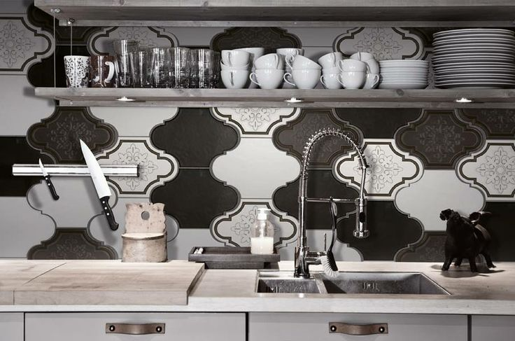 "#blackandwhite #kitchen w/ Update collection: ""Evolution status: the tradition reinvented"" #ornamenta #ceramic #tiles"
