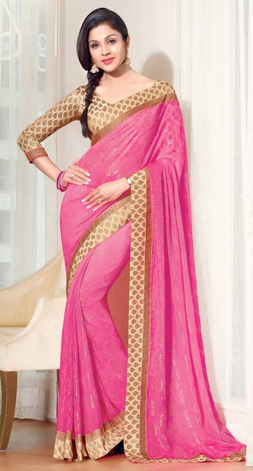 Pink Color Faux Chiffon Indian Saree