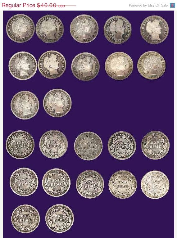 10 barber dimes AGVG plus old silver dimes by DrewsCollectibles, $36.00  #coins…
