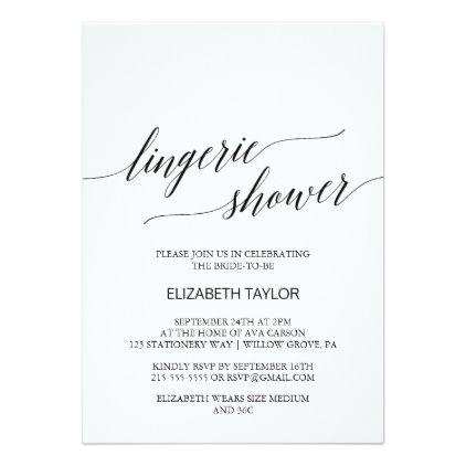 #bridal - #Elegant Black Calligraphy Lingerie Shower Card