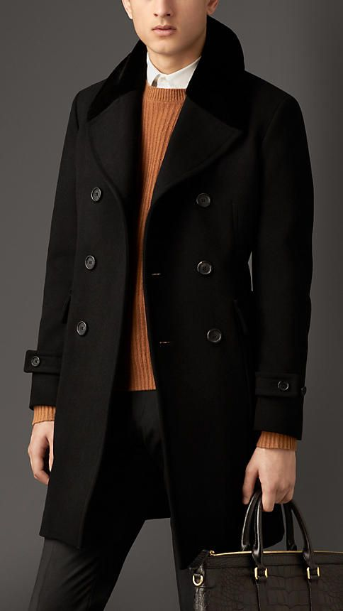 Burberry London Felted Virgin Wool Blend Coat: