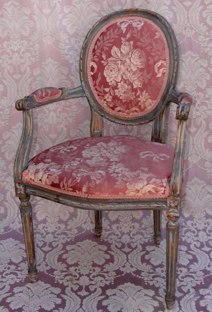 Vintage Louis Xvi Style Medallion Back Arm Chair Grey Painted Shabby Louisxiiixivxvxvi