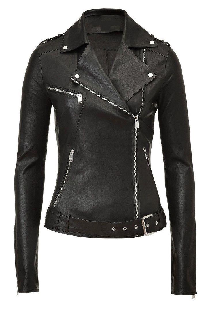 Hot Women Genuine Lambskin Leather Motorcycle Jacket Slim Fit Biker Coat Wk20