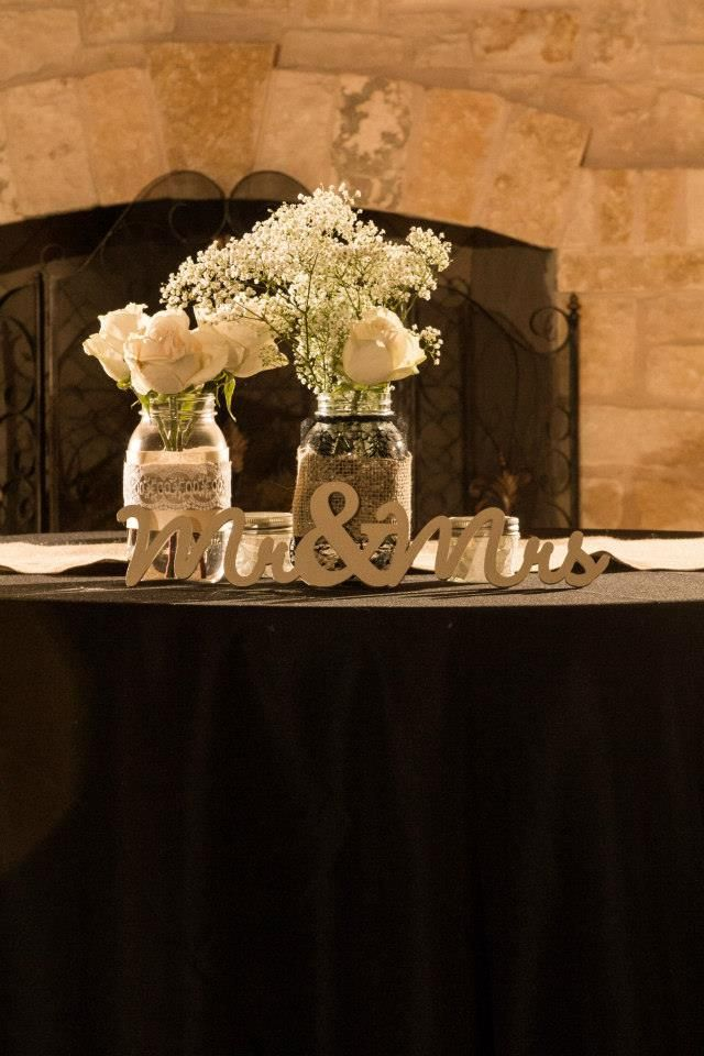 Head Table Country Wedding Black and Burlap Babies Breath