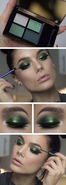 Linda Hallberg for Yves Rocher used sumptuous quad eyeshadow in dazzling green