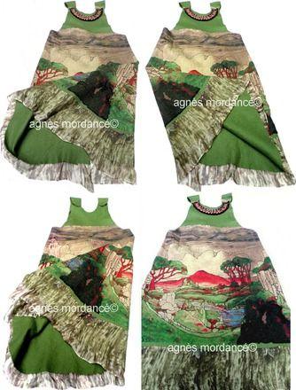 """Robe """"la dame de Shanghaï""""  col bijou- pure mousseline de soie feutrée laine mérinos - modèle unique  Un côté mousseline de soie feutrée imprimé paysage d'Asie (la soie es - 16249445"""