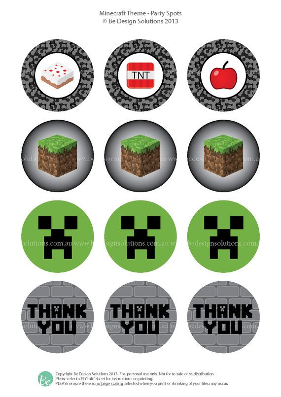 """Printable party stationery 2"""" Party Spots  (Minecraft Theme)"""