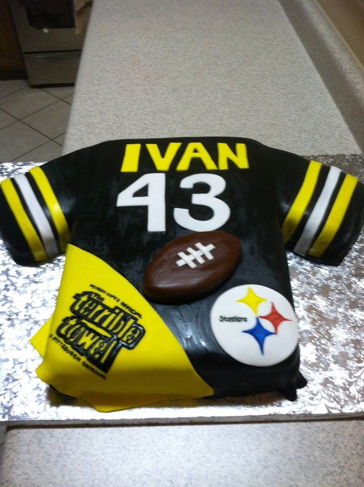 steelers football - made this cake for a friend of the family, 1/2 sheet pittsburgh steelers jersey strawberry cake with filling and mmf accents