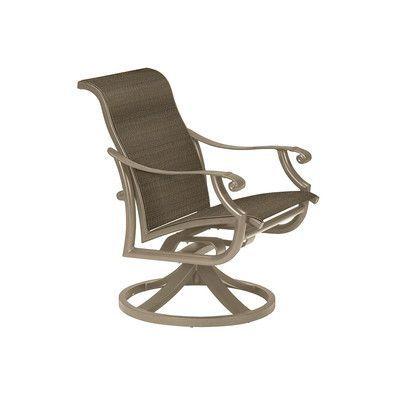 Tropitone Montreux Ii Swivel Patio Dining Chair Finish: Moab, Fabric: Vista