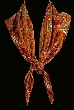 Copper Paisley Silk Wild Rag - 100% imported silk and sewn in America! $64