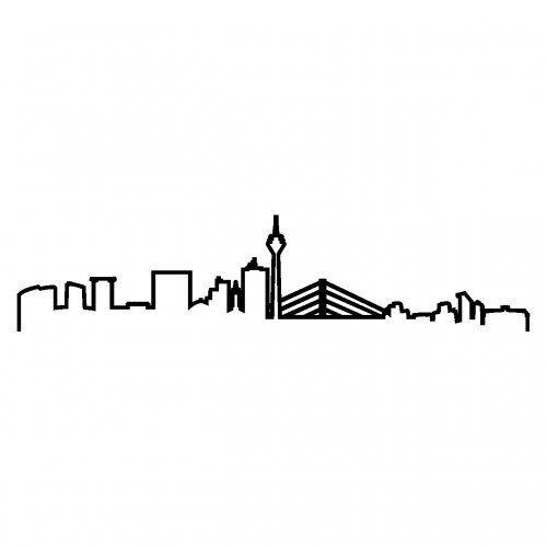 Düsseldorf Skyline Aufkleber Silhouette in 8 Größen und 25 Farben (100x23cm schwarz)