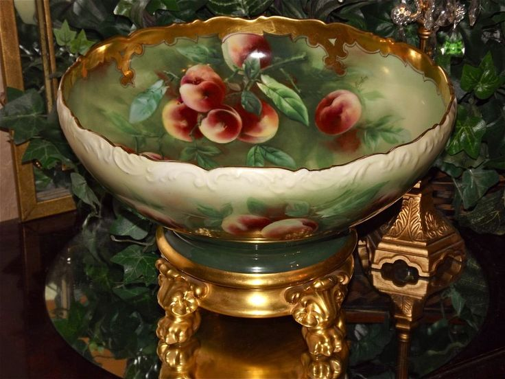 Limoges Huge Punch Bowl Peach Decor and Gold Signed Pickard Artist Kiefusu