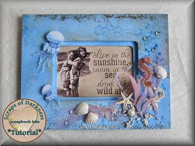 Scraps of Darkness scrapbook kits step by step tutorial: Mixed Media Beach / Sea themed Altered Frame, by Kerstin F. 49 and Market Sand and Sea